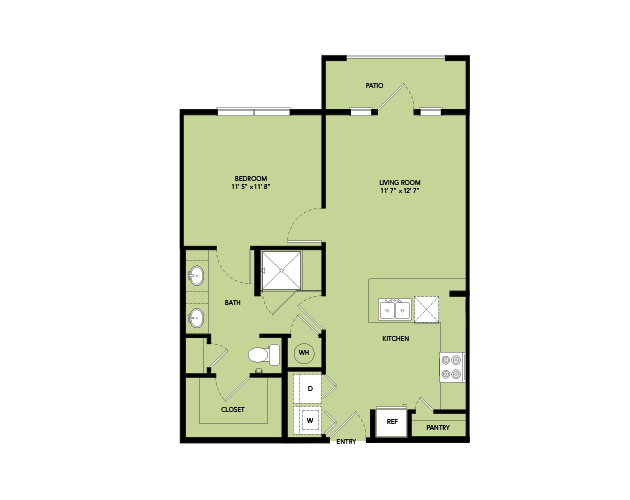 657 sq. ft. A2-S.5 floor plan