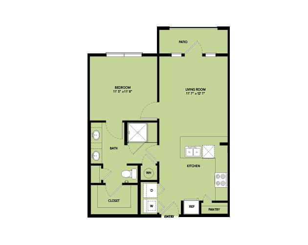 657 sq. ft. A2.5 floor plan
