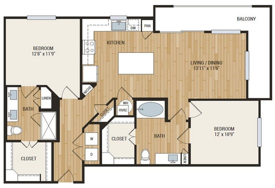 1,179 sq. ft. McNelly floor plan