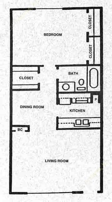 702 sq. ft. B floor plan