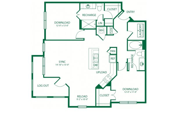 1,206 sq. ft. B3 Roam floor plan