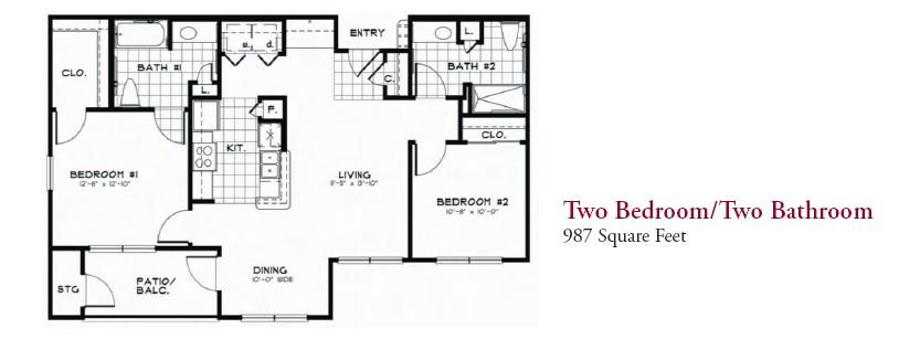 987 sq. ft. 60% floor plan