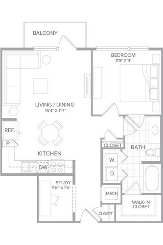 789 sq. ft. A3A floor plan