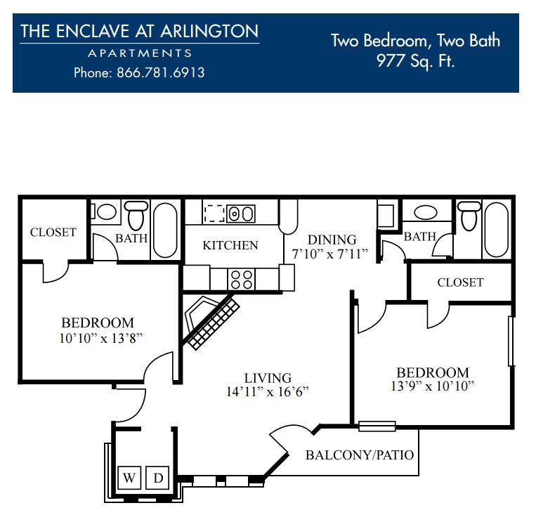 977 sq. ft. G floor plan