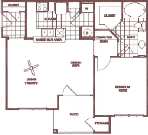 756 sq. ft. Live Oak floor plan