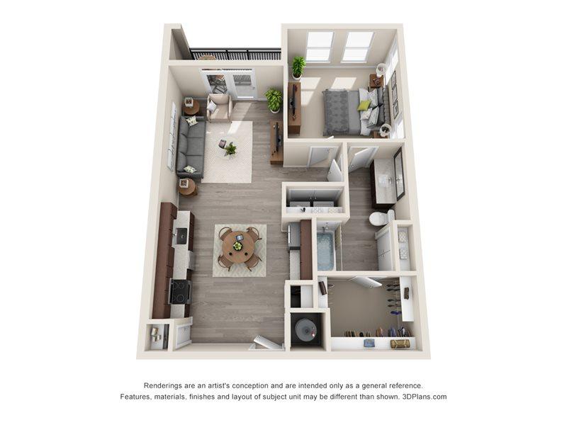 810 sq. ft. A6 floor plan