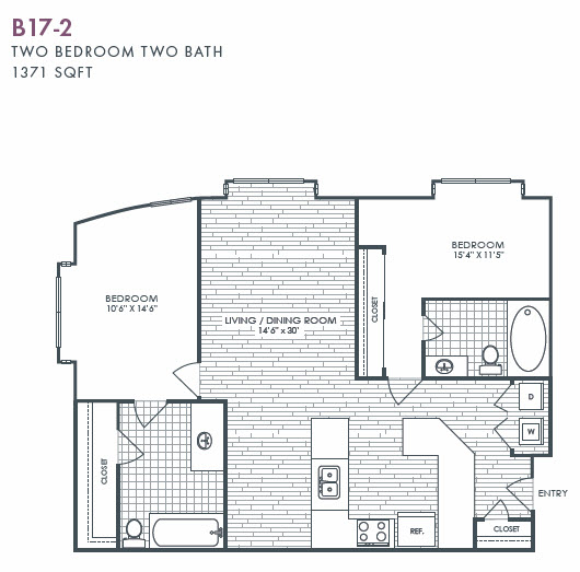 1,371 sq. ft. B17-2 floor plan