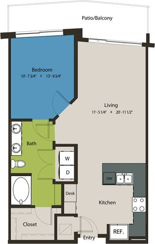 800 sq. ft. A8K-L1 floor plan