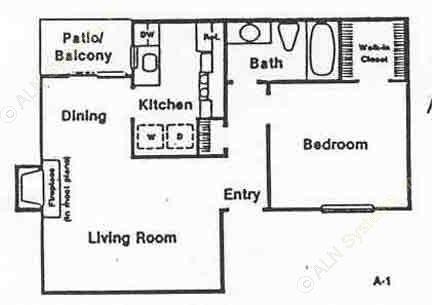 620 sq. ft. A-1 floor plan