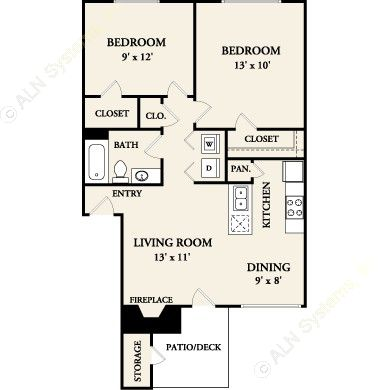 728 sq. ft. B1 floor plan