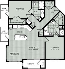 1,264 sq. ft. 2E floor plan