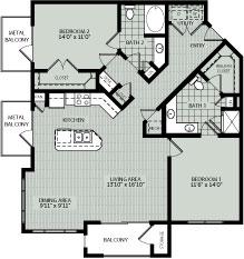 1,264 sq. ft. C3 floor plan