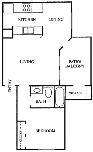 595 sq. ft. A1 floor plan