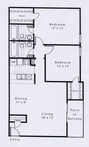 968 sq. ft. B2F floor plan