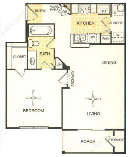641 sq. ft. Kerrville floor plan