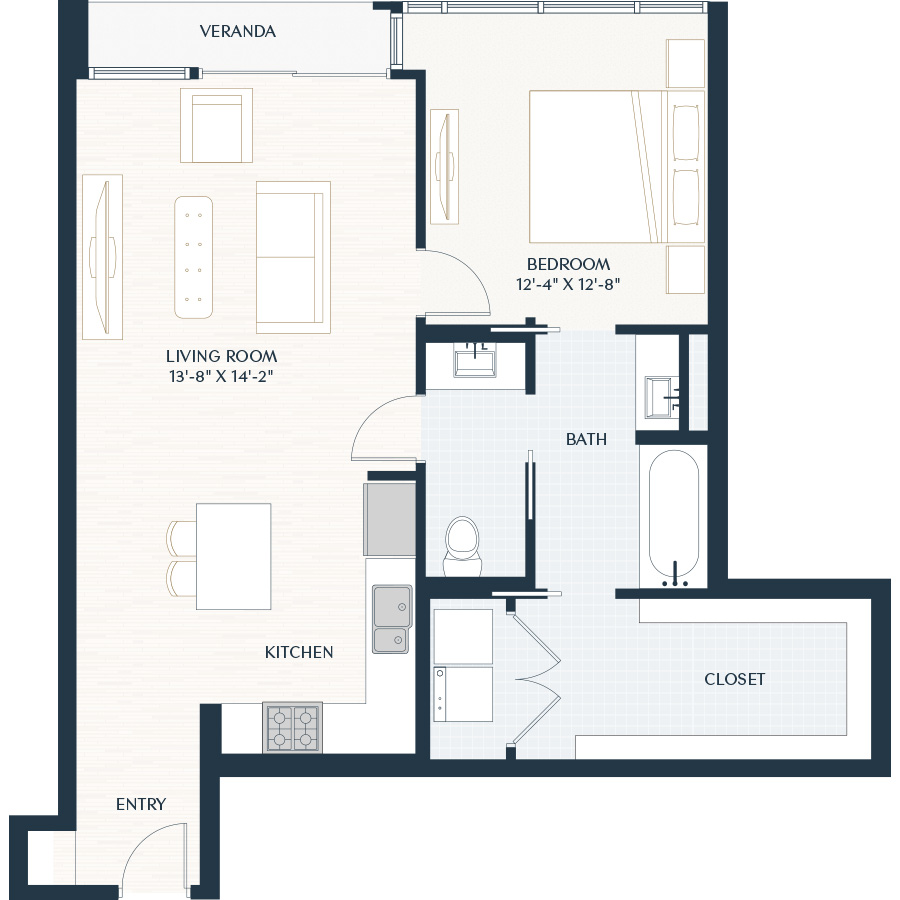 924 sq. ft. A1 floor plan