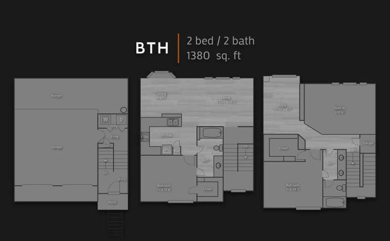 1,380 sq. ft. BTH floor plan