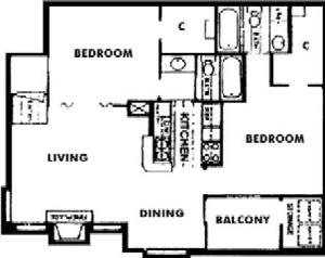 843 sq. ft. F floor plan