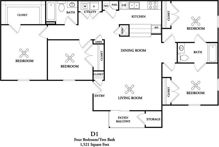 1,521 sq. ft. D1 floor plan