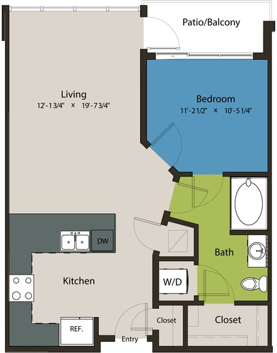 731 sq. ft. A1N floor plan