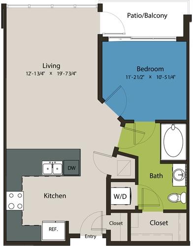 731 sq. ft. A1N floor plan