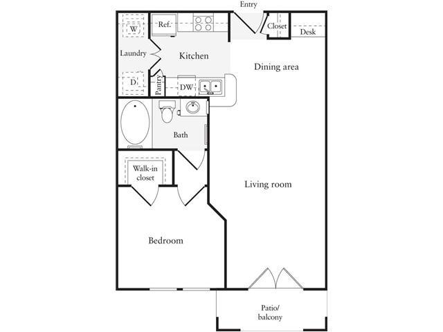 638 sq. ft. A1 floor plan