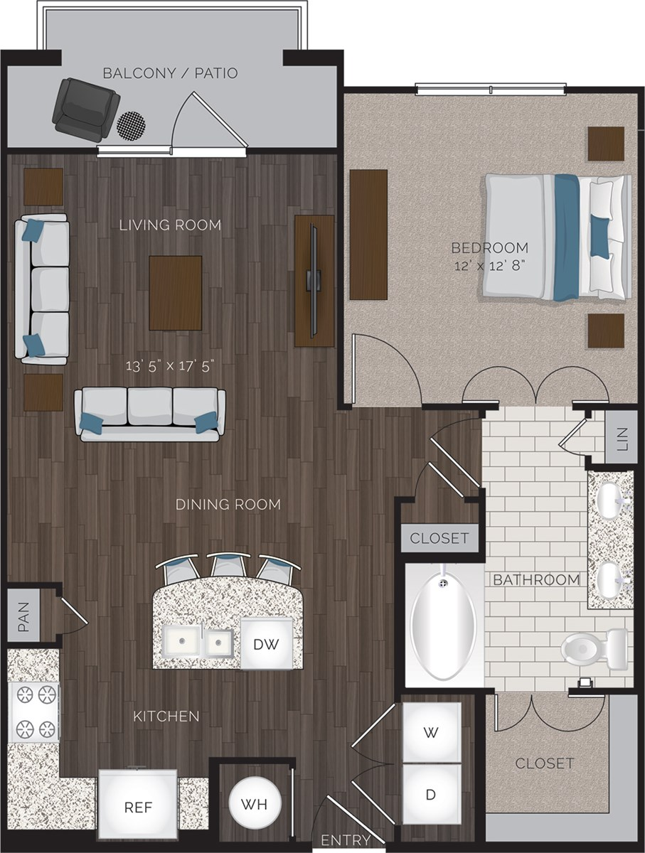 791 sq. ft. A2.1 floor plan