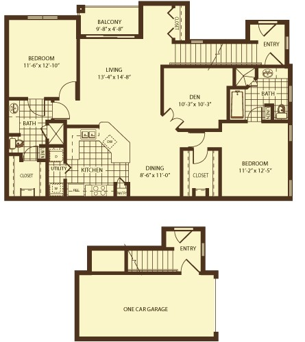 1,360 sq. ft. Alexandria floor plan