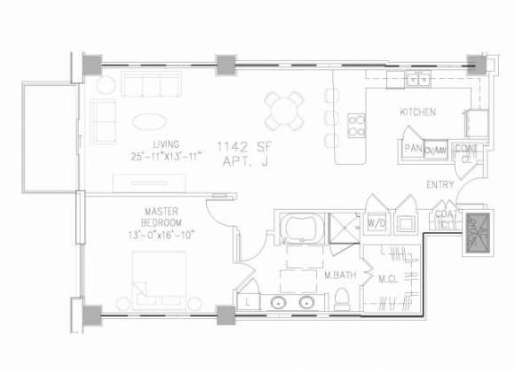 1,142 sq. ft. A4 floor plan
