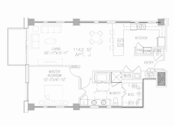 1,142 sq. ft. A4 floor plan