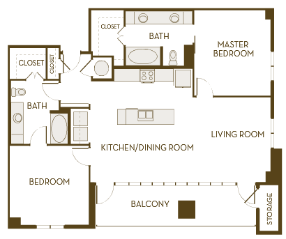 1,350 sq. ft. to 1,387 sq. ft. B2K floor plan