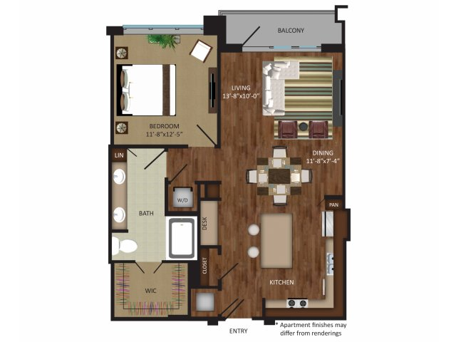 864 sq. ft. A8 floor plan