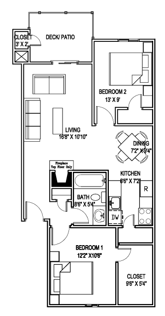 767 sq. ft. F floor plan
