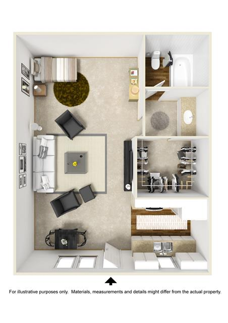 414 sq. ft. A0 floor plan