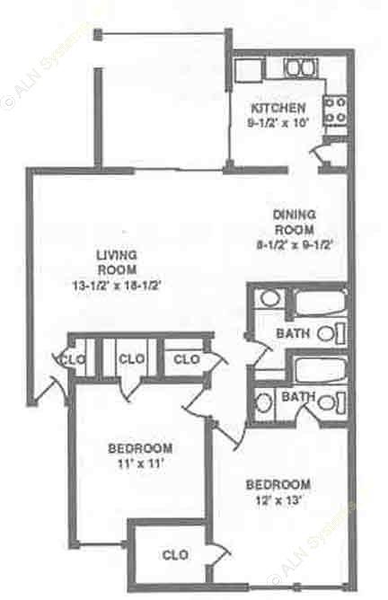 1,016 sq. ft. B1 floor plan