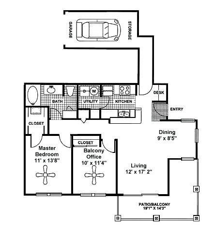 970 sq. ft. B1 floor plan