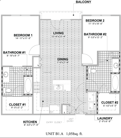 1,058 sq. ft. B1A floor plan