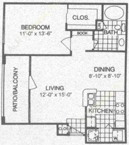 704 sq. ft. A2 floor plan