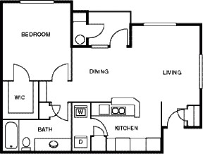 769 sq. ft. A/80% floor plan