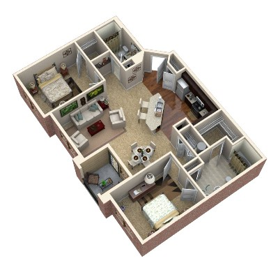 1,144 sq. ft. Opal floor plan
