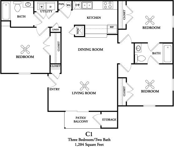 1,204 sq. ft. C1 floor plan