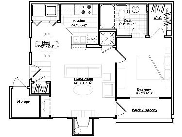 626 sq. ft. Aspen floor plan