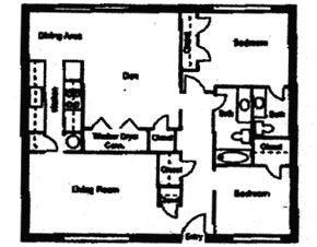 864 sq. ft. DUPLEX floor plan