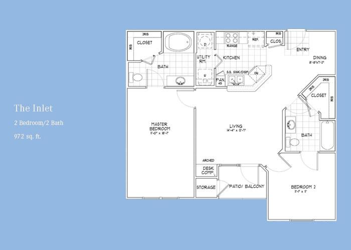 972 sq. ft. Inlet floor plan