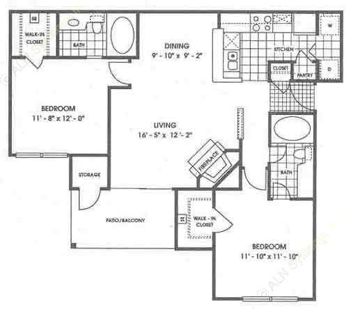 1,026 sq. ft. B1/Yosemite floor plan