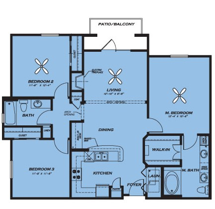 1,271 sq. ft. C1 floor plan