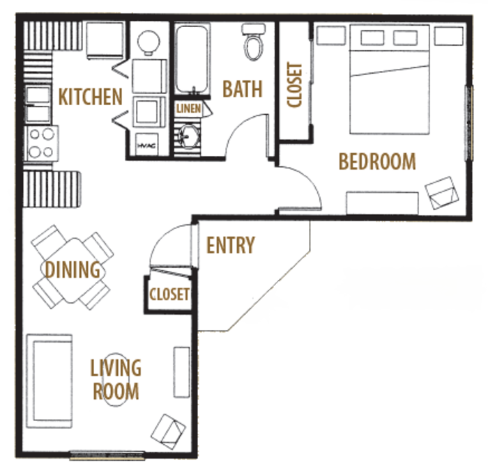 653 sq. ft. 60% floor plan