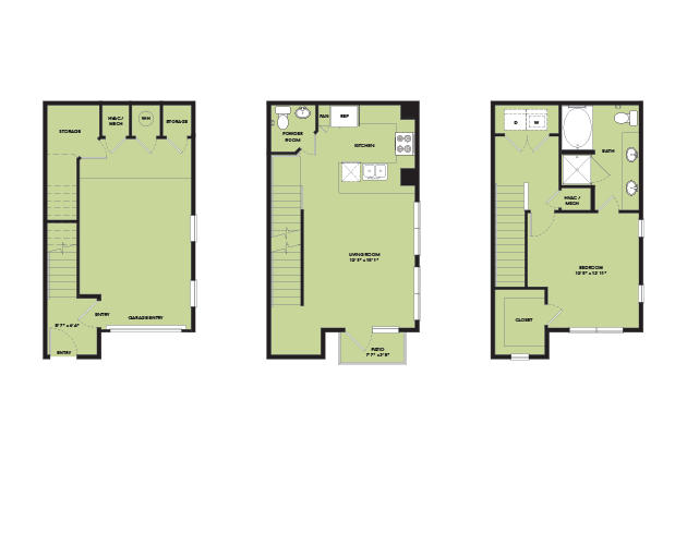 956 sq. ft. TH A1.1 floor plan