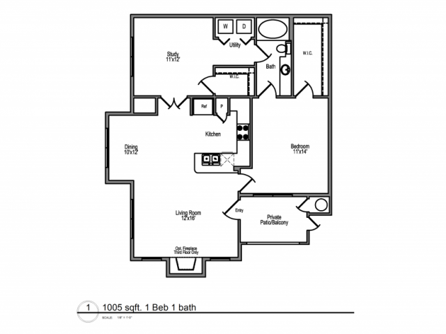 1,005 sq. ft. Martinique floor plan