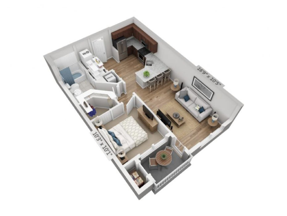 616 sq. ft. A0A floor plan